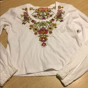 Johnny Was beautiful white XL embroidered blouse